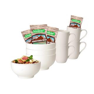 Frühstückset, 12-tlg. mit Seitenbacher Müsli   als Prämie für Ihr Zeitschriften-Abo